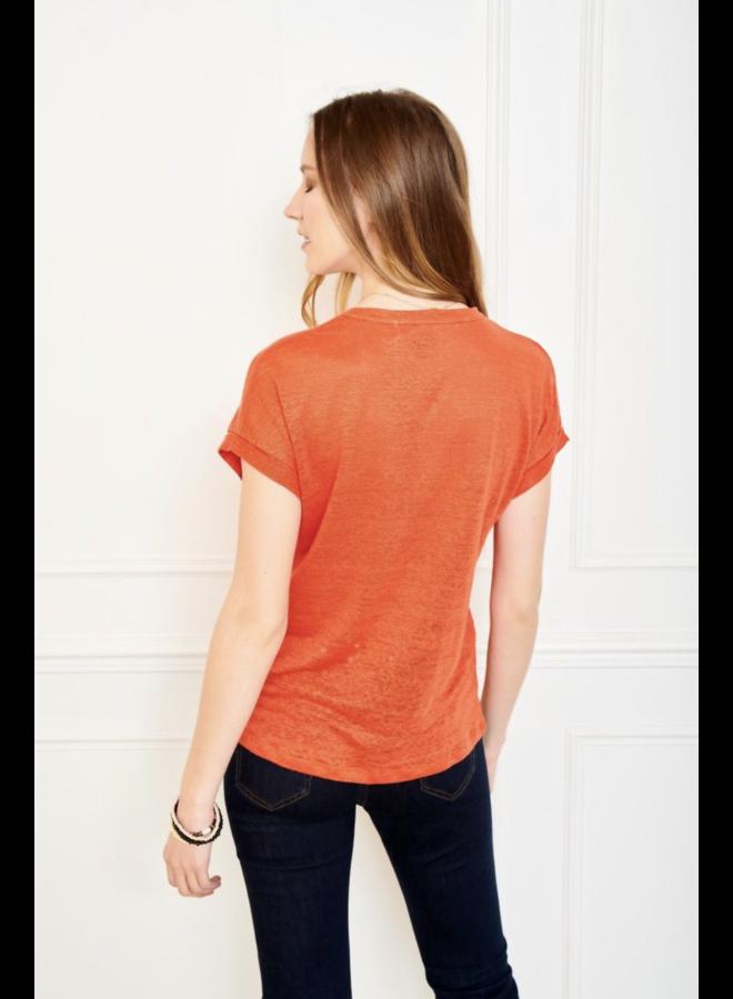 Tadour Linen Jersey Tee - Orange