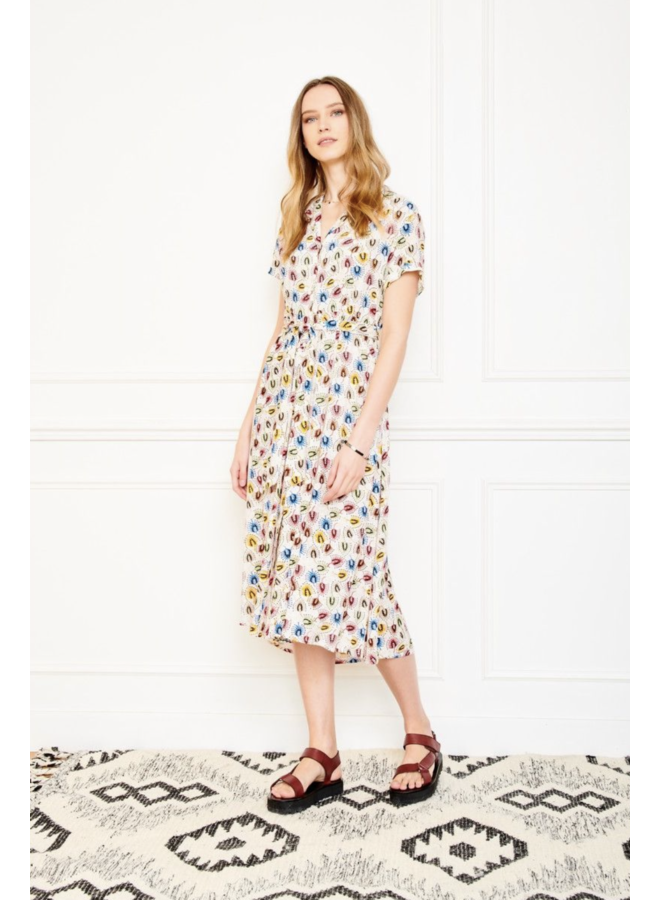Riji Feather Print Dress - Craie