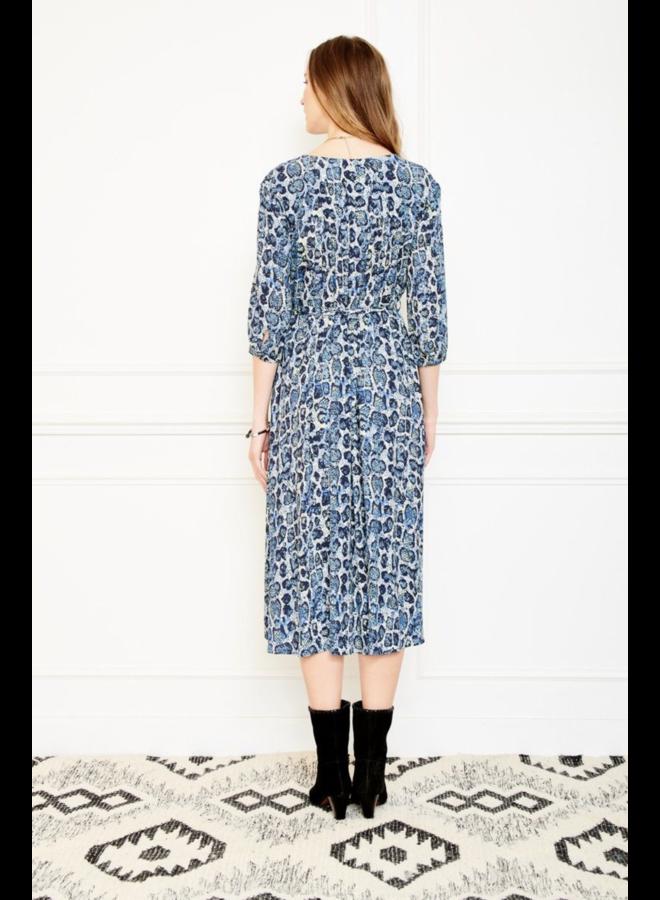 Rifez Animal Print Dress - Blue