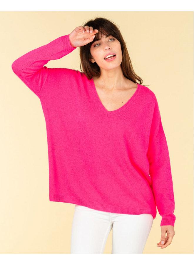 Mercedes cashmere mix knit - Rose Fluro