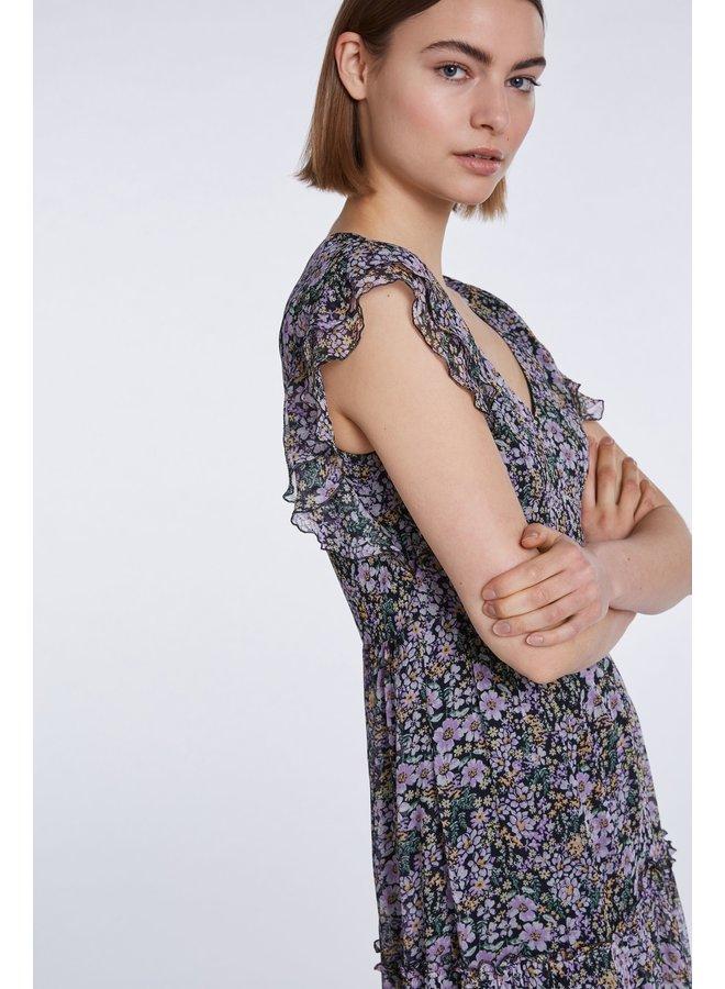 Ruffle Sleeve Dress - Black Violet