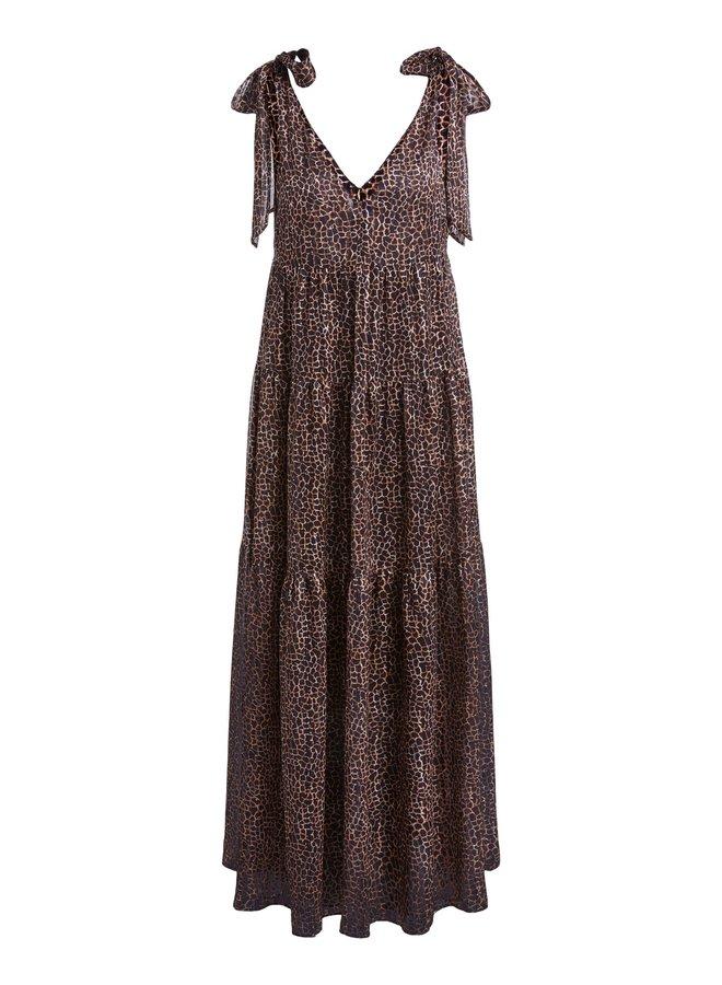 Tie Shoulder Dress - Dk Brown Camel