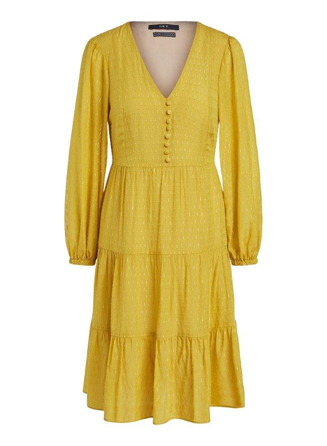 Button Front Dress - Yellow Sun