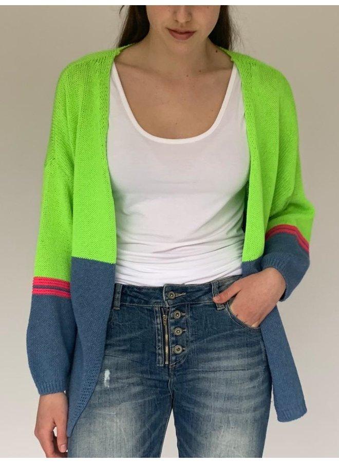 Cotton Combo Cardi - Lime/Blue