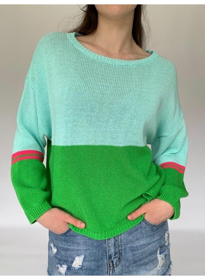 Cotton Combo Knit - Aqua/Green