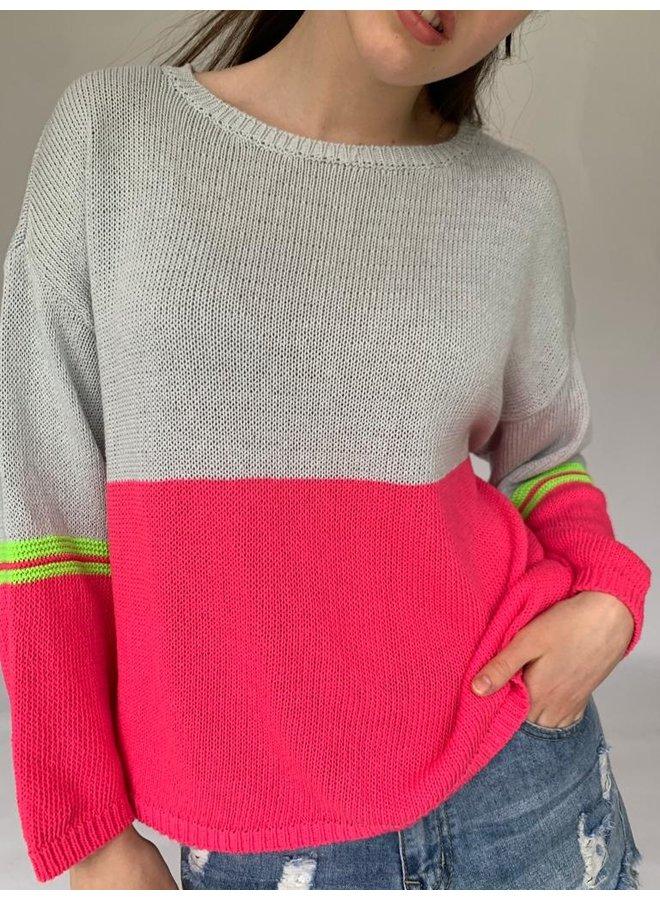 Cotton Combo Knit - Grey/pink