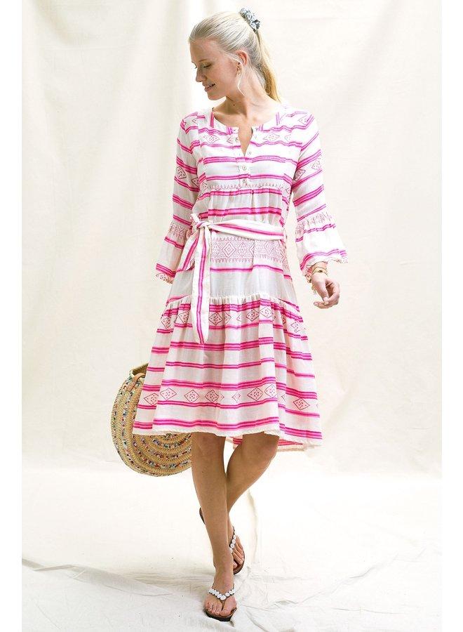 Sophie Dress - White/Pink