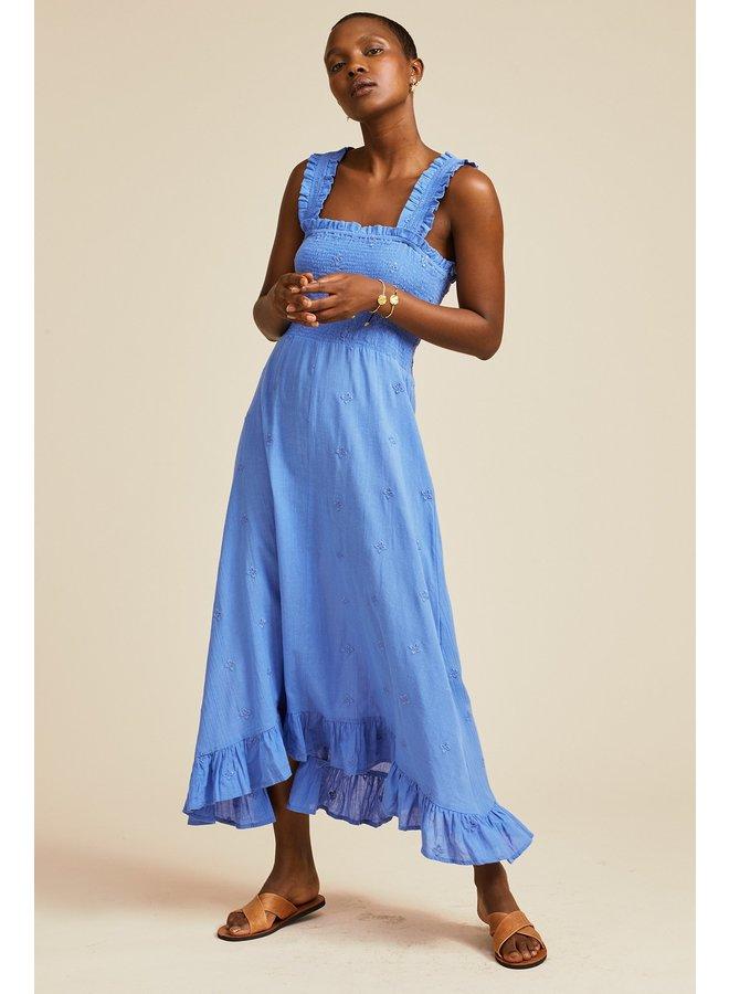 Rhianna Embroidered Dress - Blue