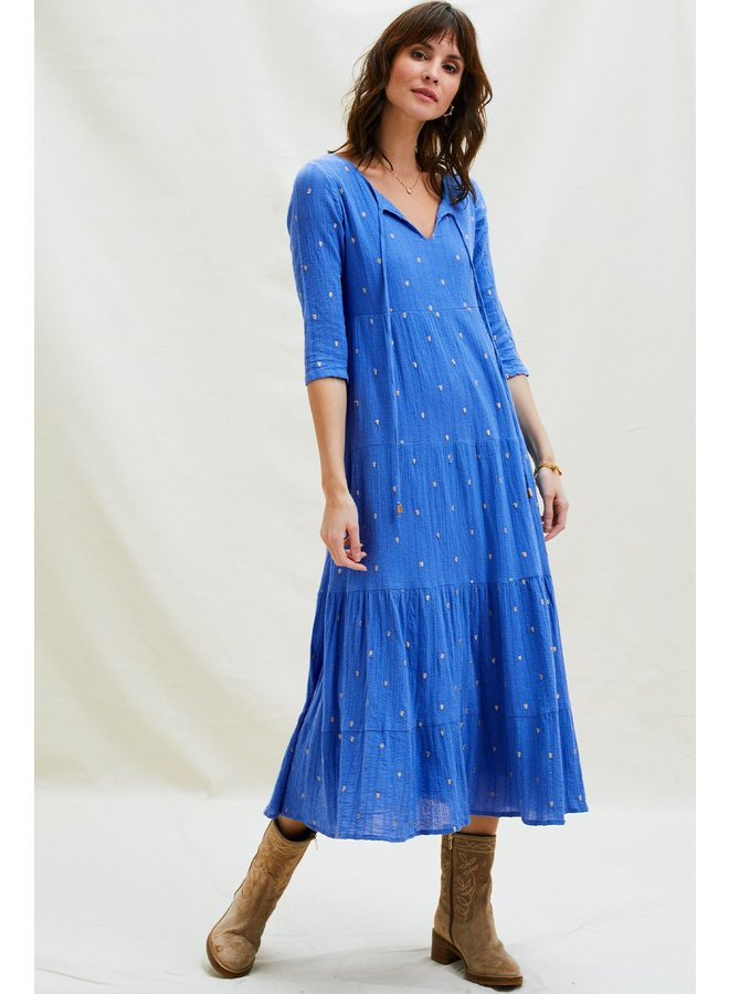 Crystal Embroidered Dress - Blue/Gold
