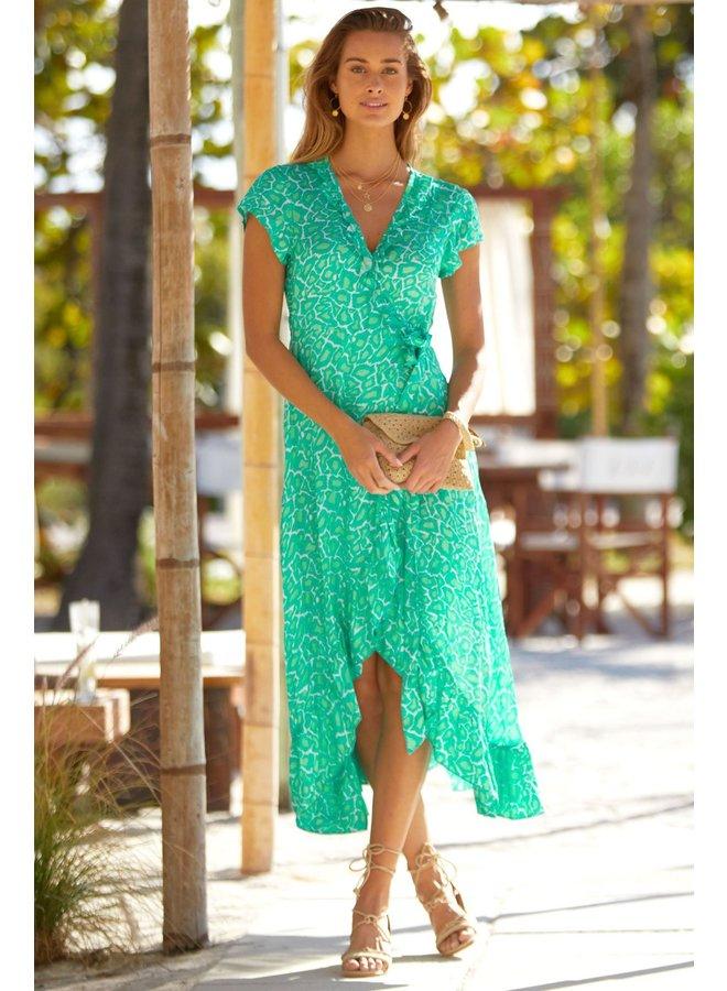 Katie Satin Wrap Dress - Turq/Green