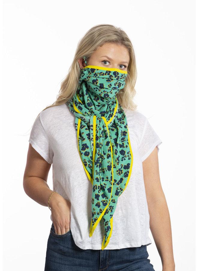doodiescarf - Floral Leo Print - Green/yellow