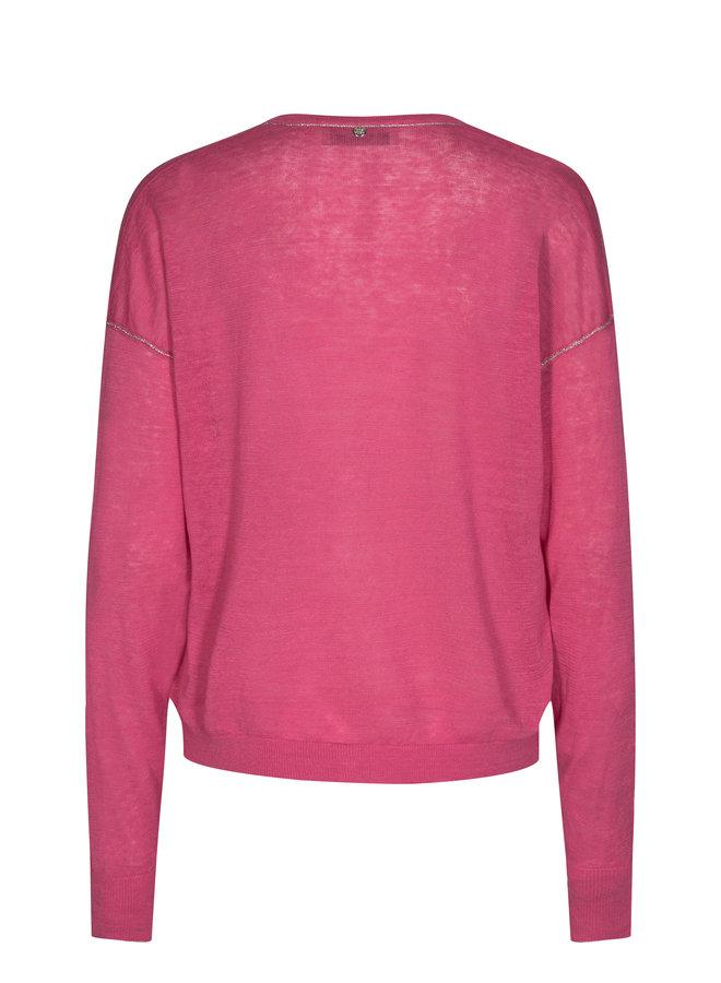 Lark Linen Knit Cardigan- Fandango Pink