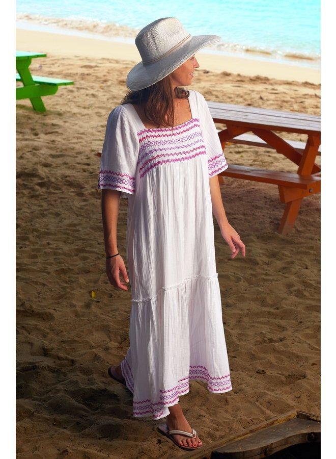 Gracie Dress - White/Lilac/Magenta