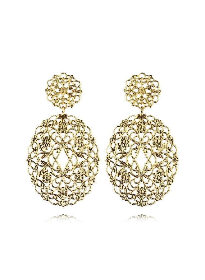 245405 Zandra Earring Gold Metal