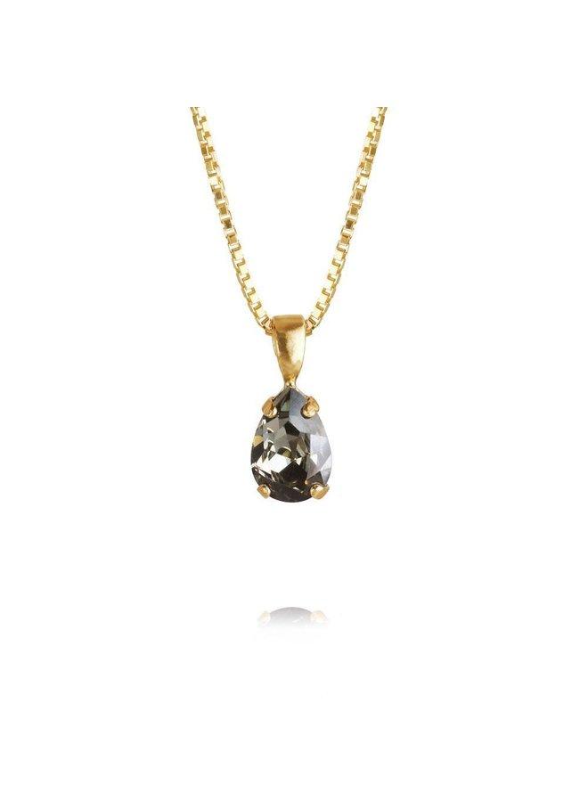 235987 Petite Drop Necklace Gold Black Diamond