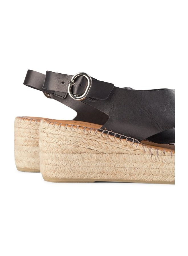 Orchid Leather Wedges - Black