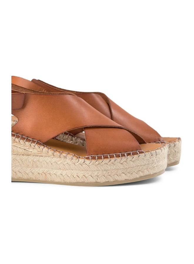 Orchid Cross Leather Sandals - Tan