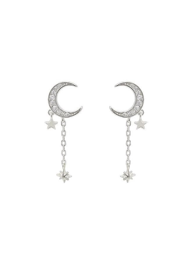 E20315s Moon Drop Earrings - Silver