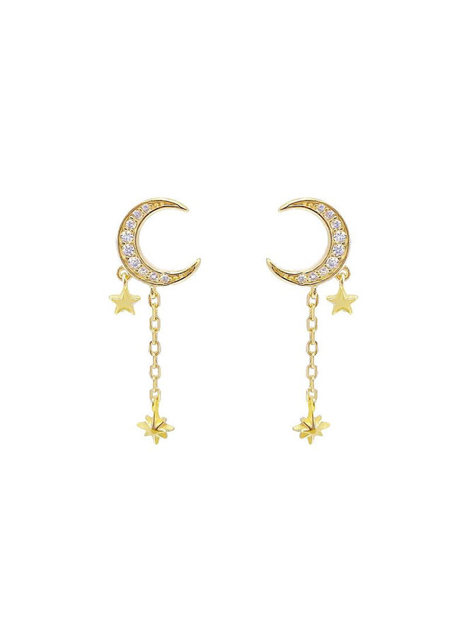E20315 Moon Drop Earrings - Gold