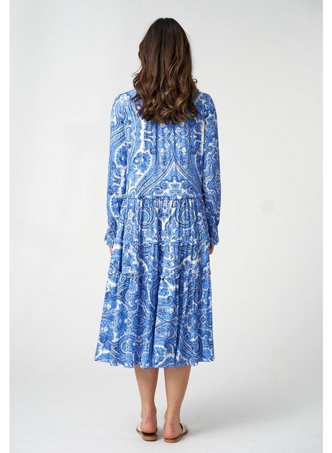 Viola Midi Dress - Paisley Blue