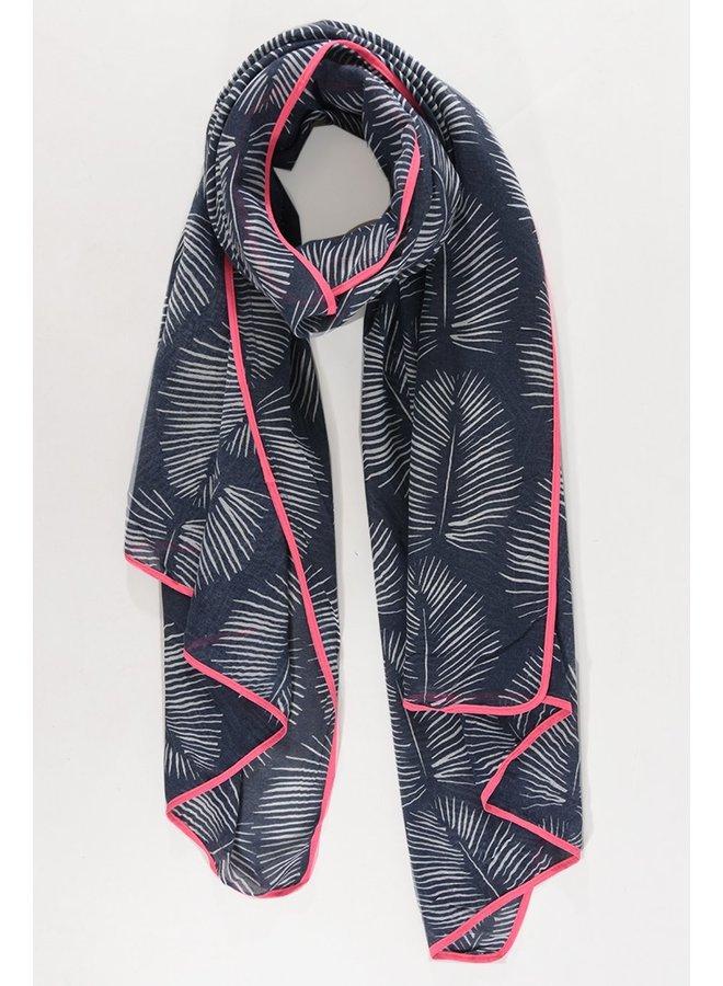 Leaf Print Scarf - Navy / Pink