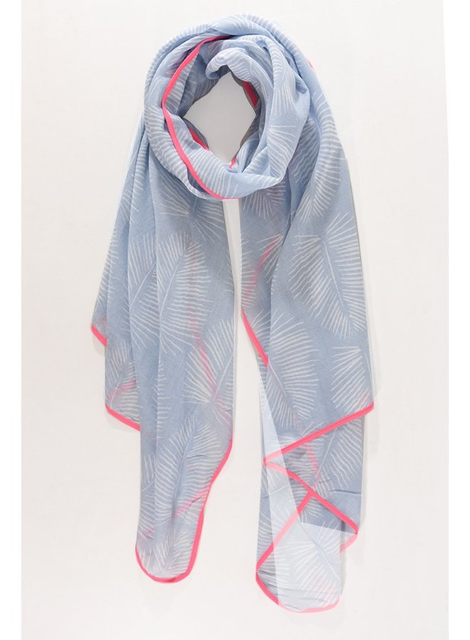 Leaf Print Scarf - Lt Blue / Pink