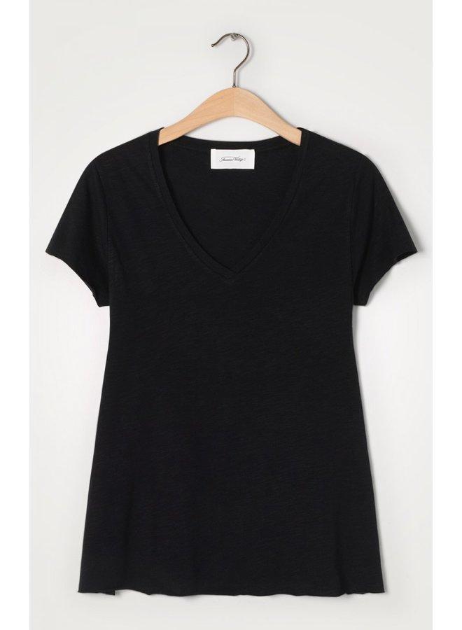 Basic V Short Sleeve Tee - Black