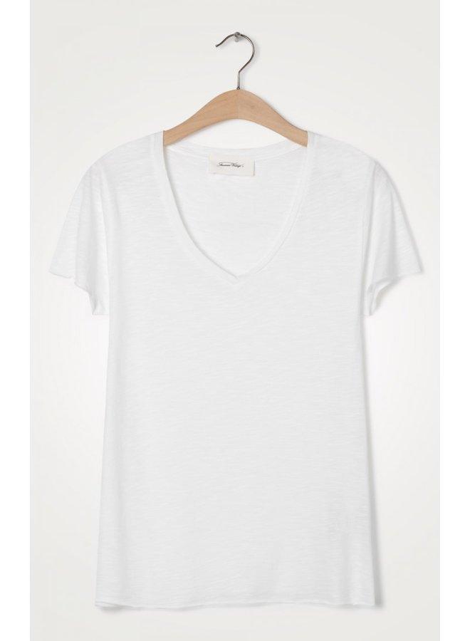 Basic V Short Sleeve Tee - White
