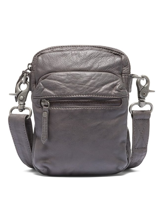 Small Washed Leather Bag - Anthracit