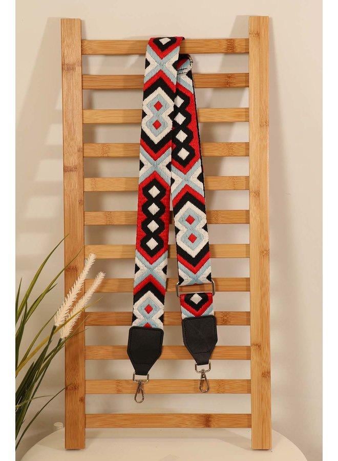 Aztec Bag Strap - Red/Black