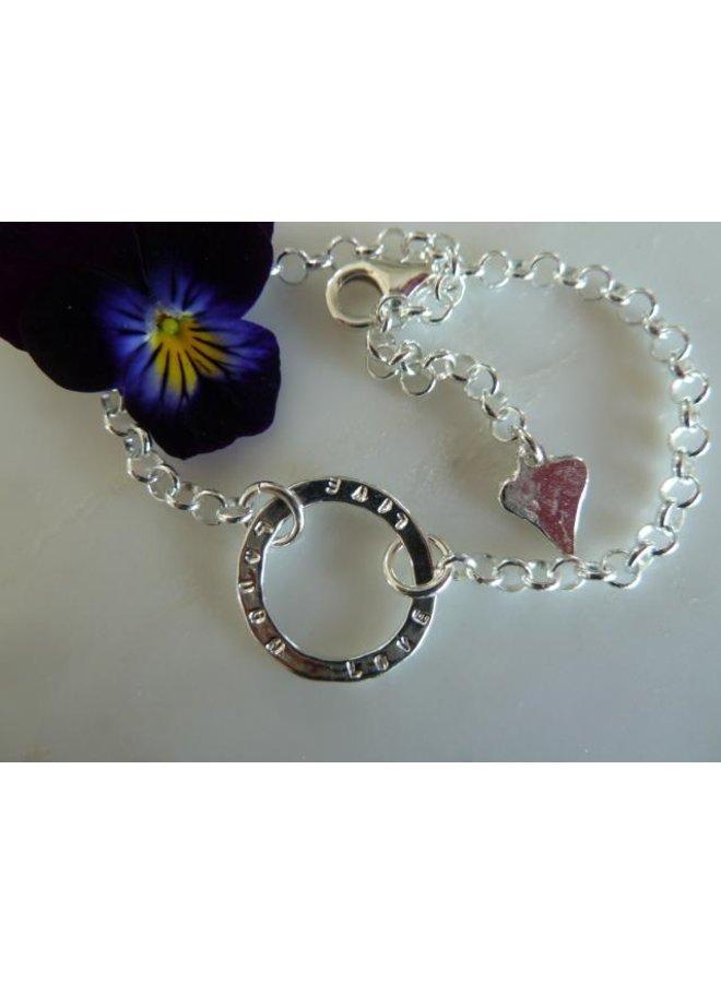 MH728A - Live Love Laugh sentiment bracelet - Silver