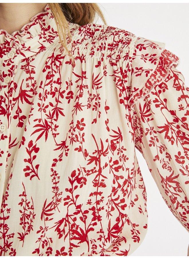 Carl Printed Ruffle Blouse - Red