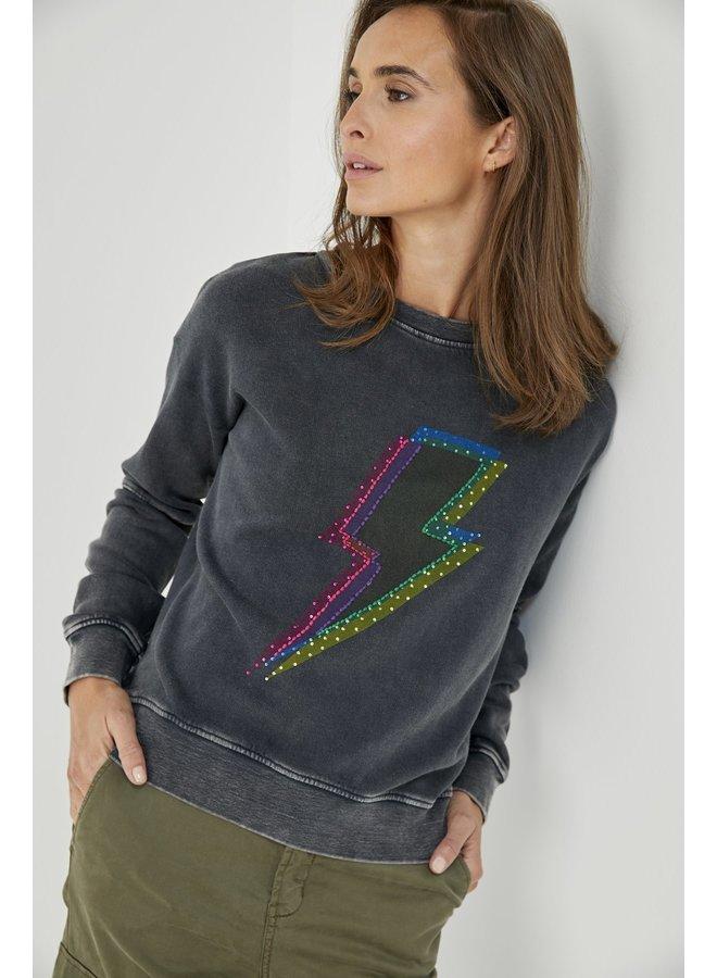 Lighgtning Bolt Sweater - Acid Grey