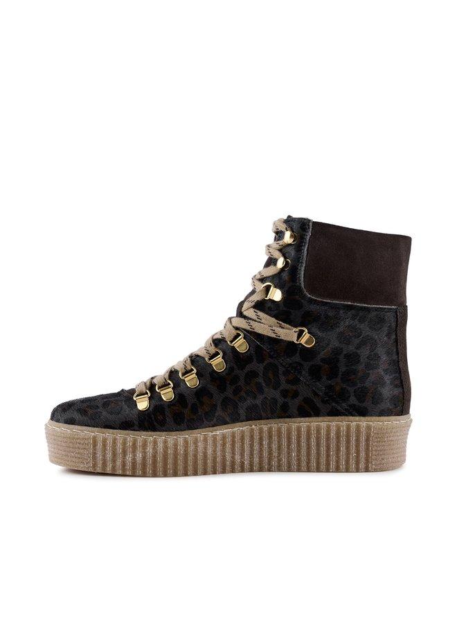Agda Leather Leo Boots - Grey