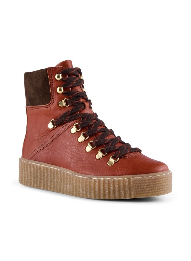Agda Leather Boots - Red Brown