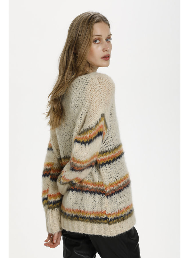 Caren Stripe Pullover - Crème Brulee