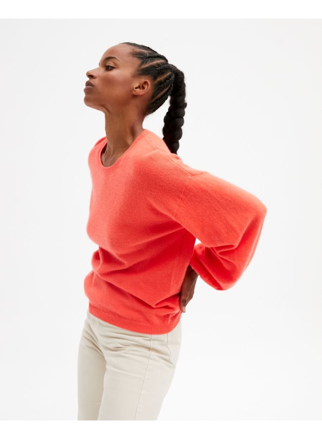 Jade Balloon Sleeve Cashmere Knit - Coral Fluro
