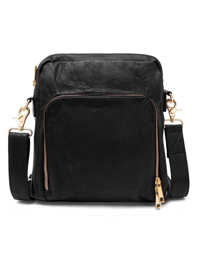 Medium Crossover Zipper Bag - Black