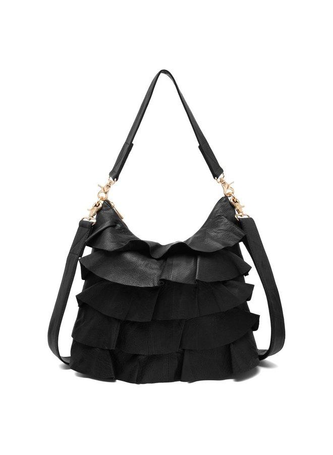 Medium Ruffle Bag - Black