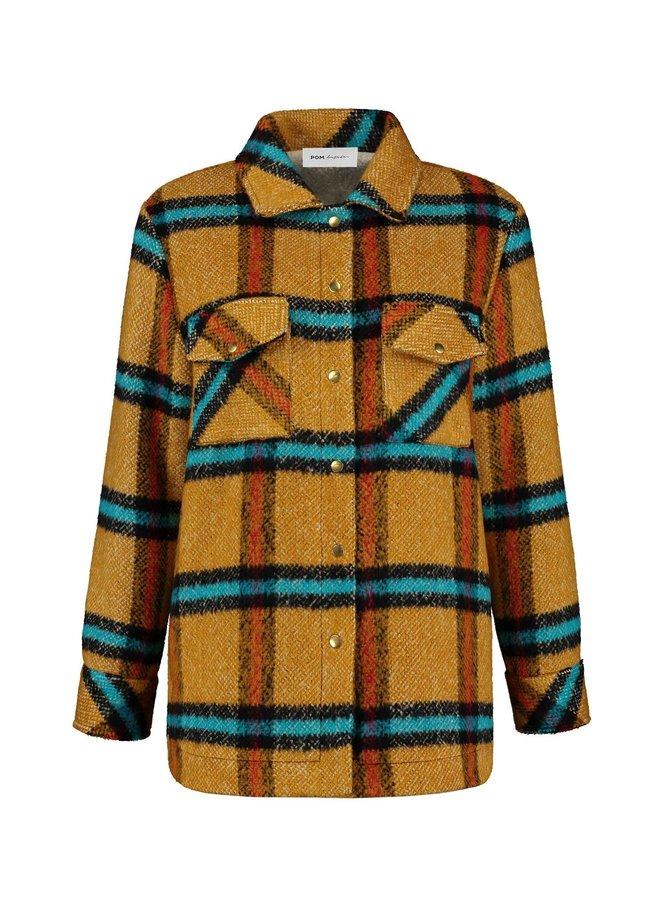 Fur Lined Shacket - Golden Amber Checks