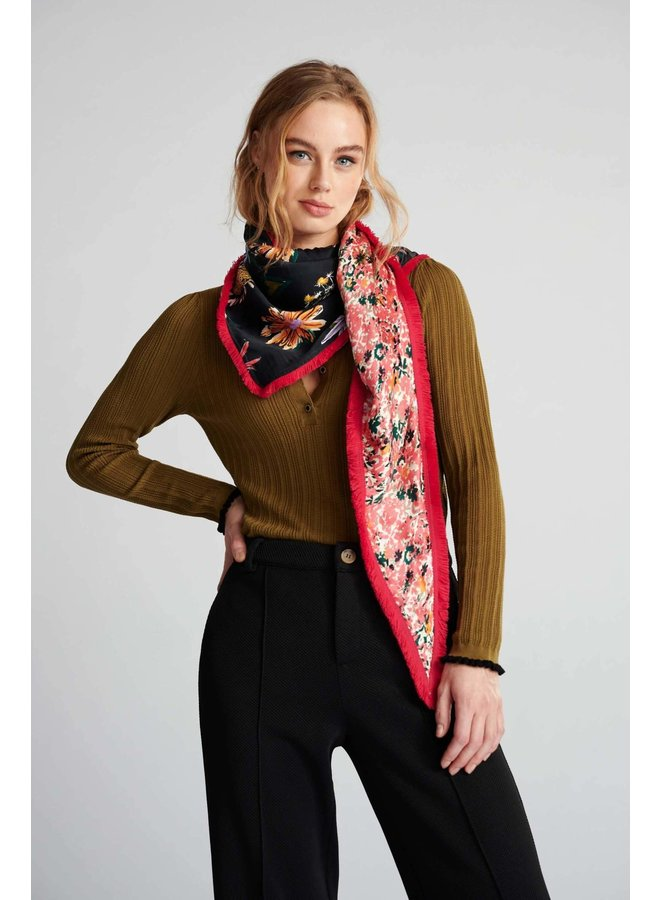 Double Flower Scarf - Love Ivory