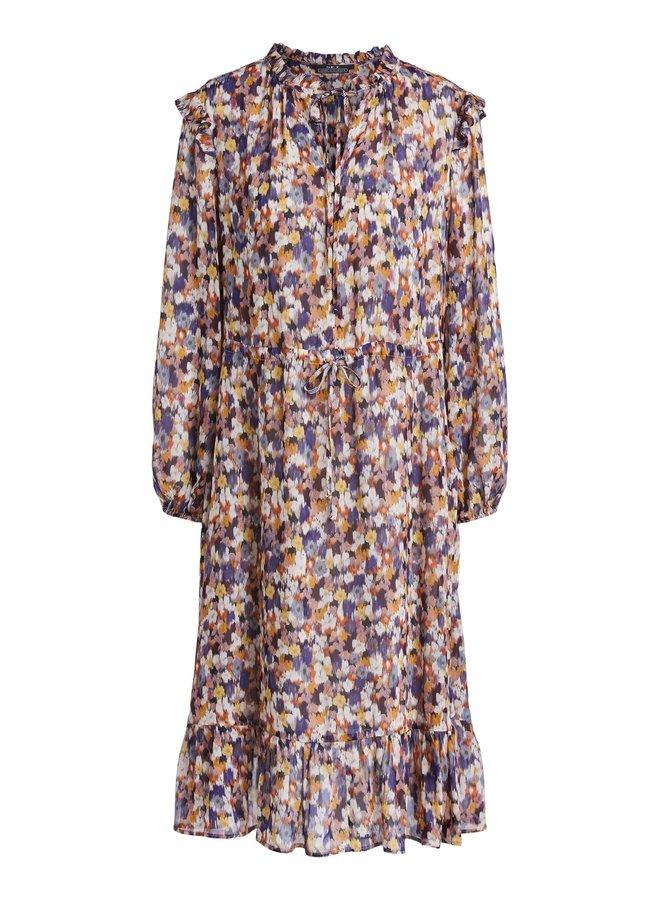 Ruffle Neck Dress - Rose Violet