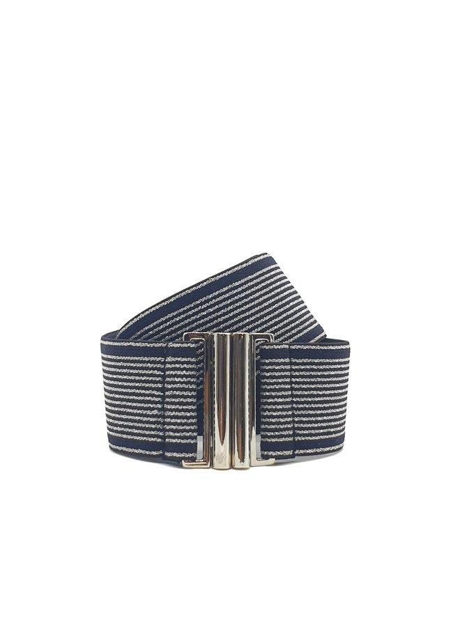 Fine Stripe Belt - Silver Mini