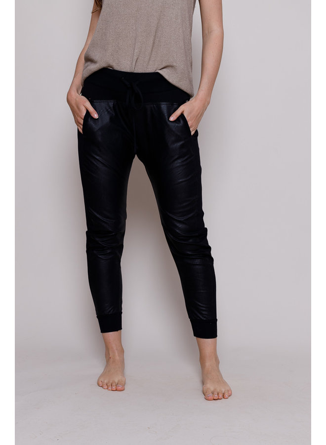 Vegan Leather Joggers With Side Panel - Black