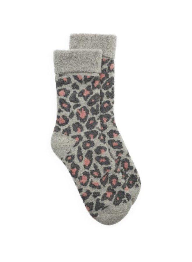 Slipper Sock Leopard - Grey/Pale Pink