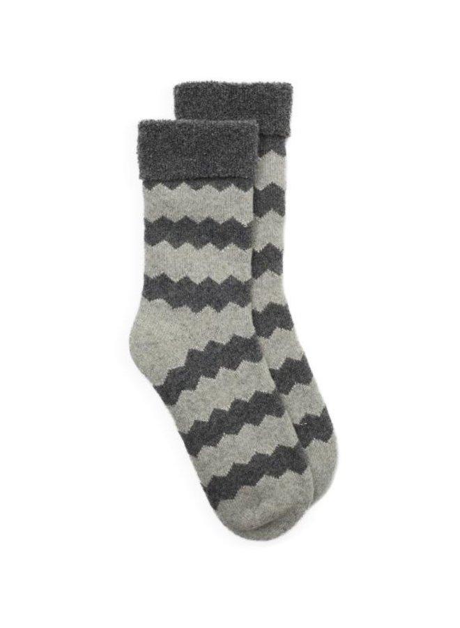 Slipper Sock Zigzag - Grey