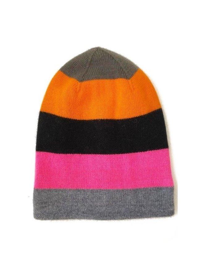 Cashmere Colour Block Stripe Beanie - Multi