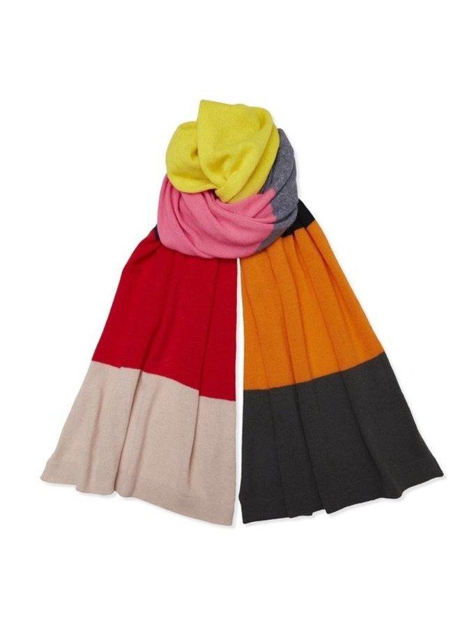 Cashmere Colour Block Stripe Scarf - Multi