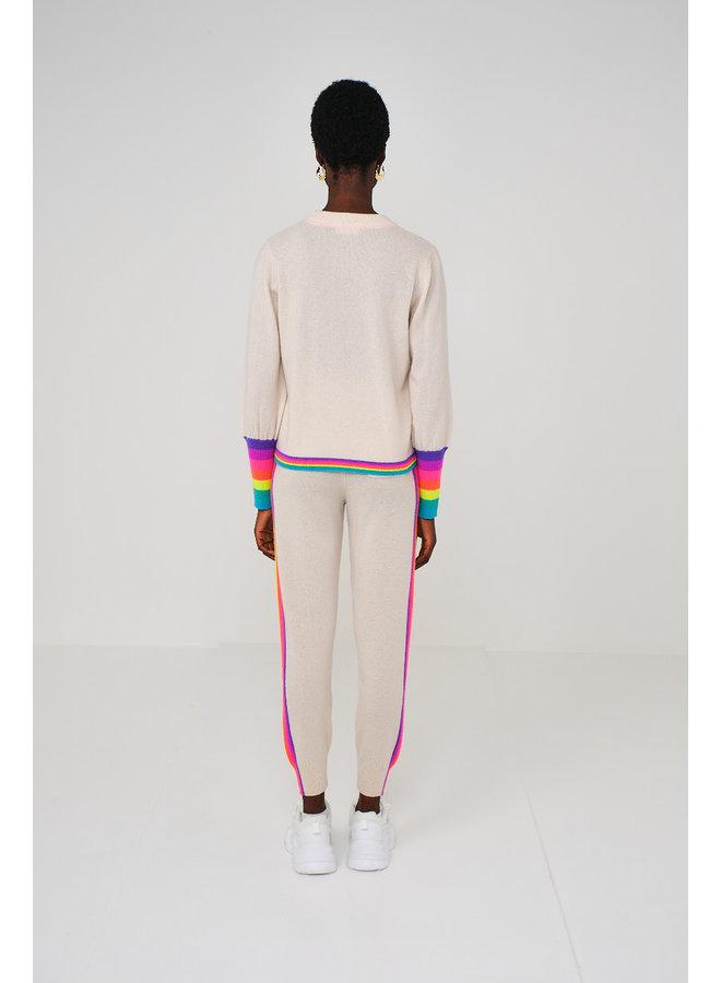 Rainbow Cuff Baloon Sleeve Knit -  Light Pink
