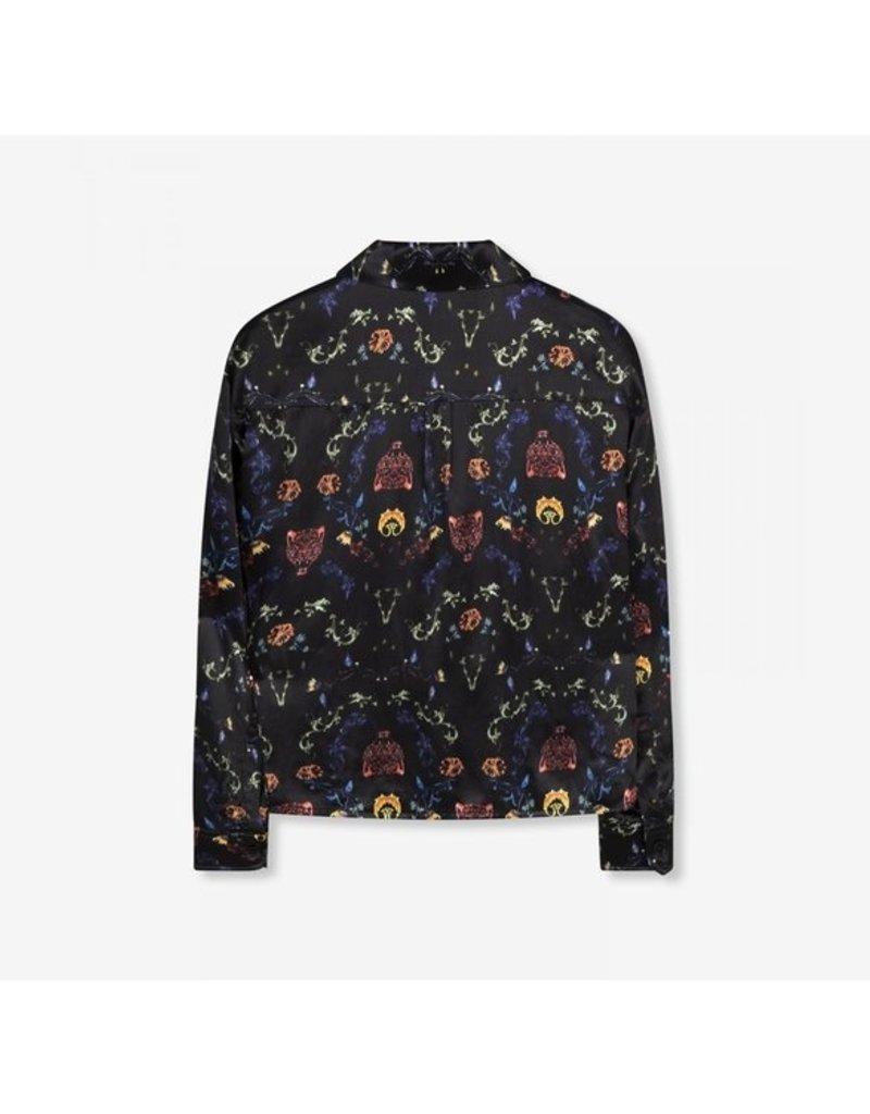 ALIX THE LABEL Ladies woven multi colour satin blouse